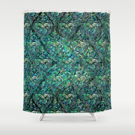 Persian Oriental pattern abalone and silver Shower Curtain