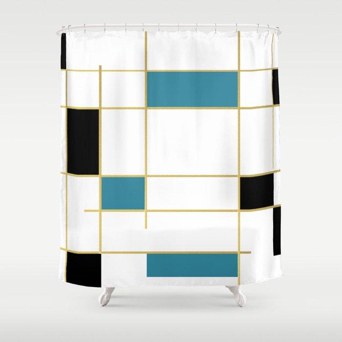 MidCentury Modern Art Aqua Gold Black Shower Curtain