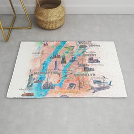 New York City Illustrated Map with Main Roads, Landmarks and Highlights Rug