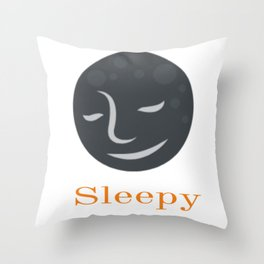Sleeping Moon Graphic Design Throw Pillow