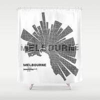 melbourne Shower Curtains featuring Melbourne Map by Shirt Urbanization