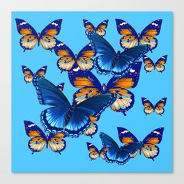 MODERN ART DECORATIVE BLUE-BROWN  BUTTERFLIES Canvas Print