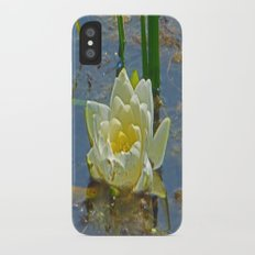 Blue Damselfly Perched Aquatic White Lily Flower Slim Case iPhone X