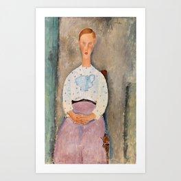 "Amedeo Modigliani ""Girl with a Polka-Dot Blouse (Jeune fille au corsage à pois)"" Art Print"
