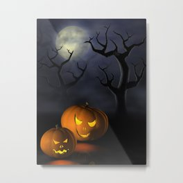 I - Halloween pumpkins in a spooky forest at night Metal Print