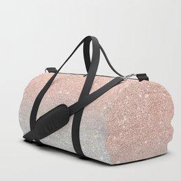 Modern trendy rose gold glitter ombre silver glitter Duffle Bag
