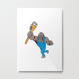 Angry Gorilla Plumber Monkey Wrench Isolated Metal Print