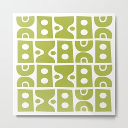 Mid Century Modern Abstract Composition 616 Olive Green Metal Print
