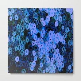 Blue Circles Quilling Metal Print