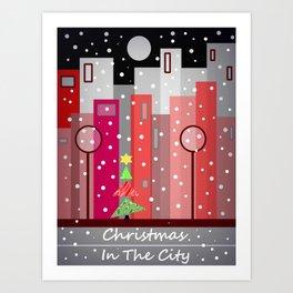City Christmas Snowfall Art Print
