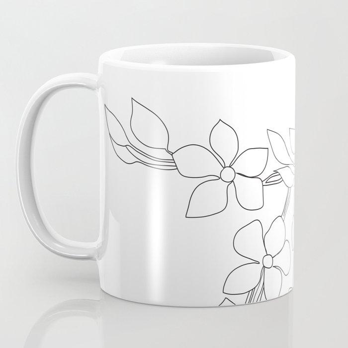 Minimal Wild Roses Line Art Coffee Mug