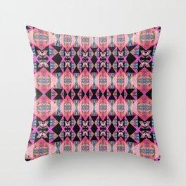 Diamond Geometric Power Pattern in Broad Spectrum Pink Throw Pillow