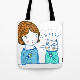 all i ever wanted was to drink ice tea with a cat  Tote Bag