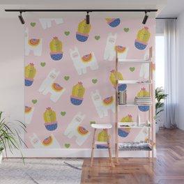 Llama Loves Pink Wall Mural
