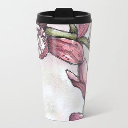 Orchids - Watercolor and Ink artwork Travel Mug