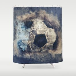 Abstract Grunge Soccer Shower Curtain