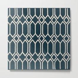 Geometrics in Blue and White Diamonds Metal Print