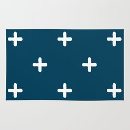 White Crosses on Deep Teal Rug