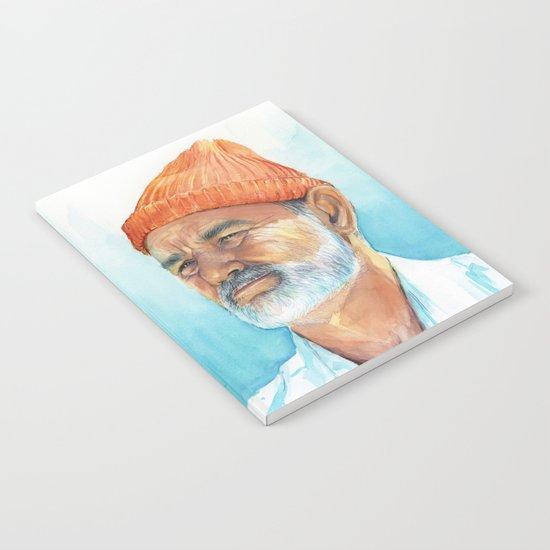Steve Zissou Art Bill Murray Watercolor Portrait Notebook