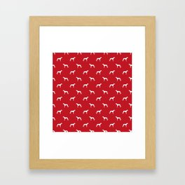 Greyhound red and white minimal dog silhouette dog breed pattern Framed Art Print