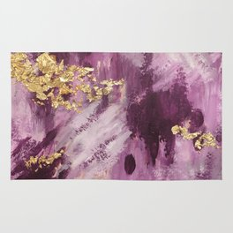 Purple and Gold Abstract Glam Rug