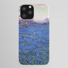 Bluebonnets at Twilight, mountain-desert landscape painting by Robert Julian Onderdonk iPhone Case