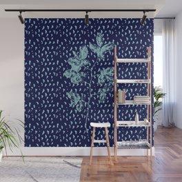 Navy and aqua blue faux glitter raindrops and foliage Wall Mural
