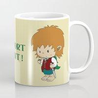 hobbit Mugs featuring I'm not short, I'm a hobbit by mangulica illustrations