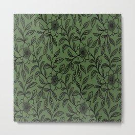 Vintage Lace Floral Kale Metal Print
