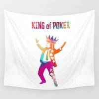 poker Wall Tapestries featuring Poker King colored by jbjart
