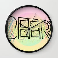 beer Wall Clocks featuring Beer! by Bunhugger Design
