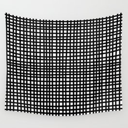 Black and White Gingham Wall Tapestry