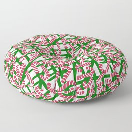 Squiggly Candy Canes for Christmas Floor Pillow