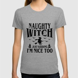 Halloween witch broom Naughty Costume Funny gifts T-shirt