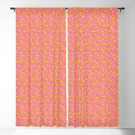 Bananas and polka dots on pink Blackout Curtain