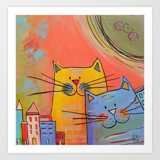 City cats Art Print