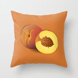A Peach and a Half- Good Fruit Throw Pillow