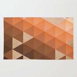 Warm Brown  -  Geometric Triangle Pattern Rug