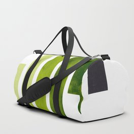 Green Minimalist Mid Century Modern Inca Watercolor Stripes Staggered Symmetrical Pattern Duffle Bag
