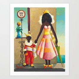 African American Masterpiece 'La Reine et Son Fils' by Orville Bulman Art Print