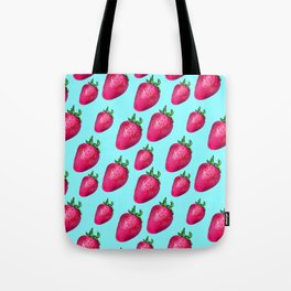 Fun Summery Strawberry Print With Light Blue Background! (Large Scale) Tote Bag