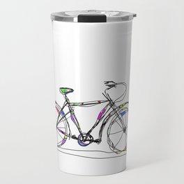 Colorful Bicycle Line Art Travel Mug