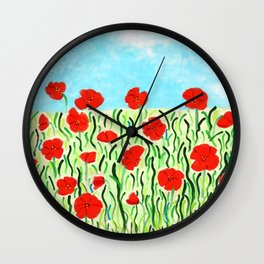 Everything's Popping up Poppies Wall Clock