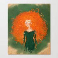 pixar Canvas Prints featuring Merida from Brave (Pixar - Disney) by Delucienne Maekerr