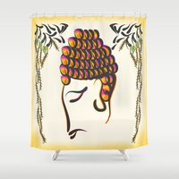 buddha Shower Curtains featuring Buddha by famenxt