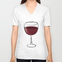 wine V-neck T-shirts featuring Wine by jssj