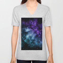 Purple Teal Galaxy Nebula Dream #1 #decor #art #society6 Unisex V-Neck
