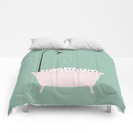 5 Little White Kittens in Bathtub Comforters