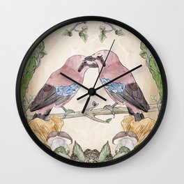 Watercolor Woodland Birds Jays in a Forest Plants , Blackberries Ivy and Fungi Mushroom Frame Wall Clock