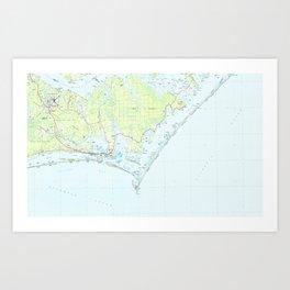 Cape Lookout National Seashore & Morehead City Map Art Print